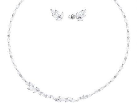 LOUISON SET, WHITE, RHODIUM PLATED NECKLACE FOR MISTRESS EMMA