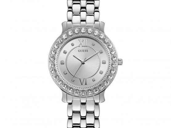 GUESS Ladies silver watch with crystals for Mistress Emma